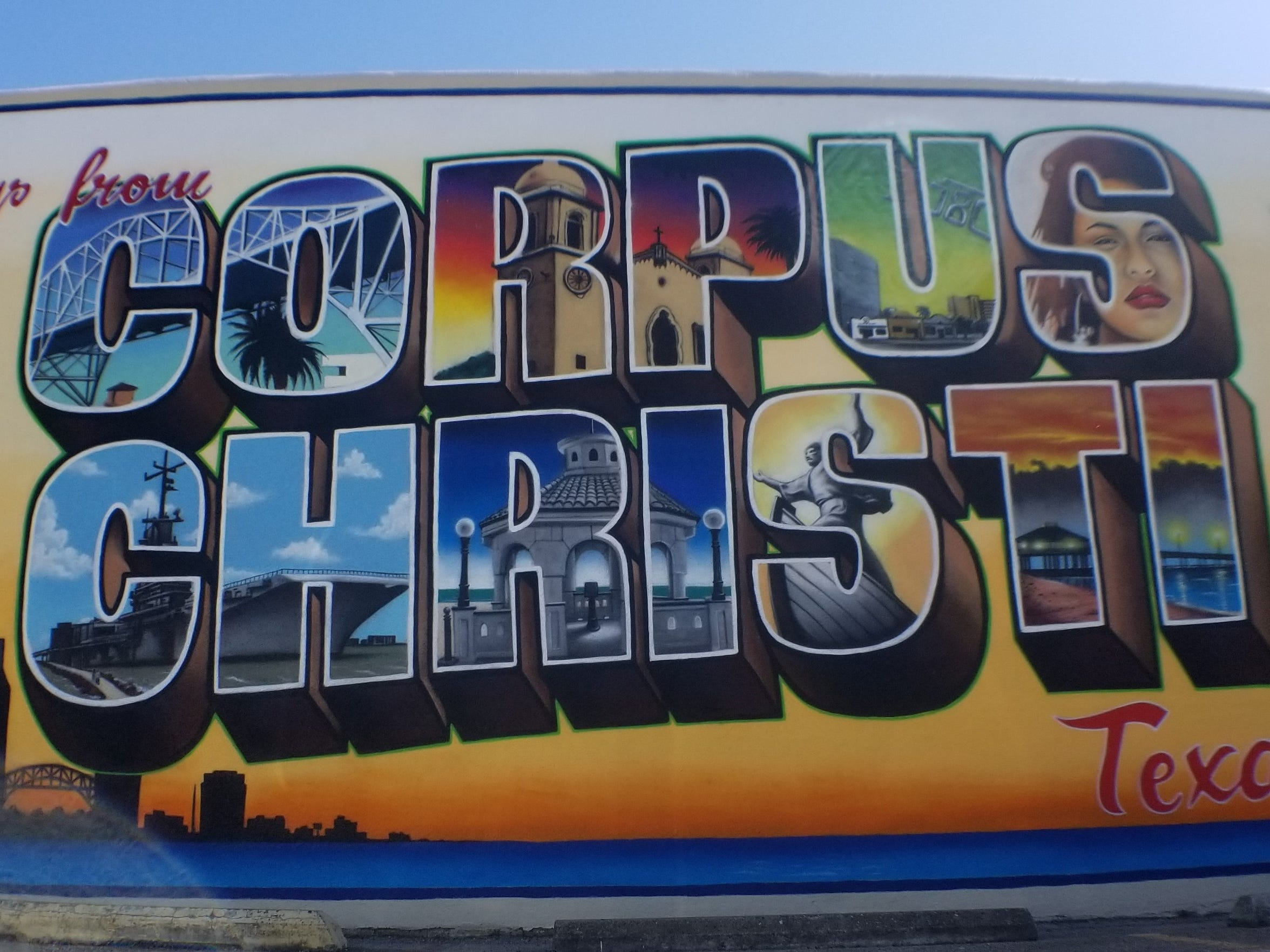Greetings From Corpus Christi mural on Mesquite Street