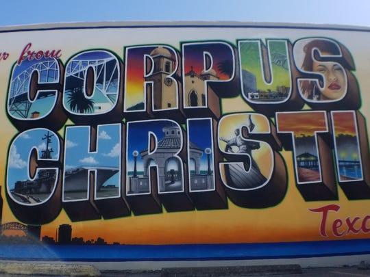 Greetings From Corpus Christi mural on Mesquite Street