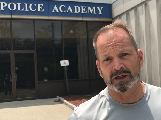 Former Det. Arnold Anderson teaches recruits at the Essex County Fire & Police Academy.