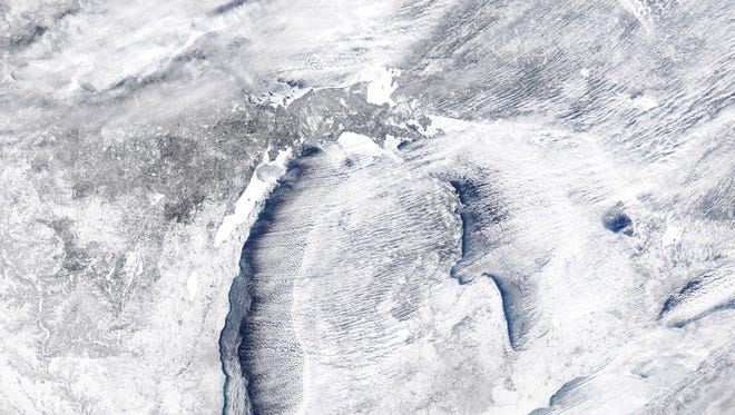 View of the Great Lakes and Michigan on Jan. 28, 2014.