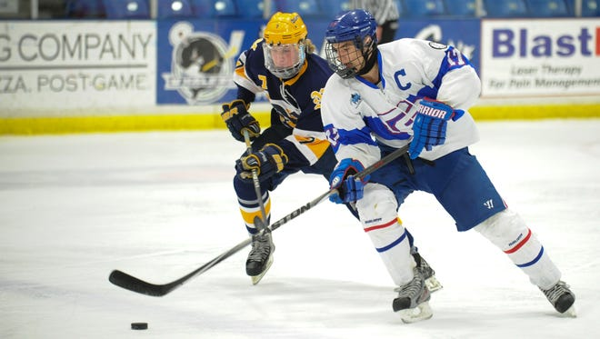 Port Huron Northern's Luke Scahill and Detroit Catholic Central's Owen Kipke battle for the puck Saturday night during their hockey game at Compuware Arena. Catholic Central won the game 5-1.