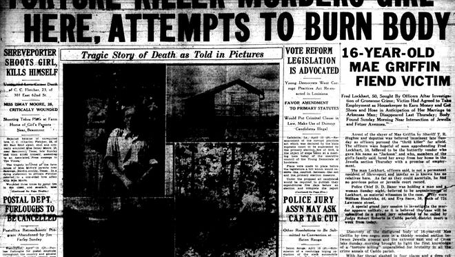 This from page from mid-April 1934 greeted readers who learned that day of a horrific slaying in Shreveport.