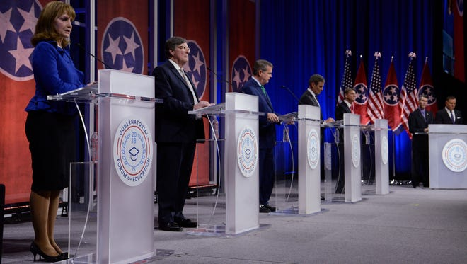Gubernatorial candidates Republican Beth Harwell, Democrat Craig Fitzhugh, Democrat Karl Dean, Republican Bill Lee and Republican Randy Boyd answer questions from moderators David Plazas and Rory Johnston during the gubernatorial forum on education at Belmont University in Nashville on Tuesday, Jan. 23, 2018.