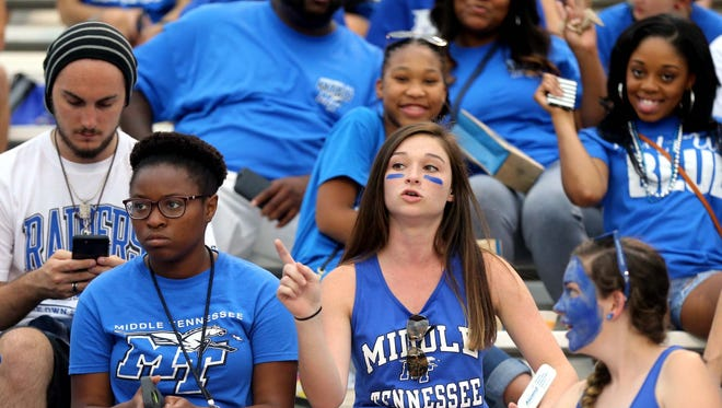 MTSU's fans at the MTSU vs Charlotte game on  Sept. 19, 2015.