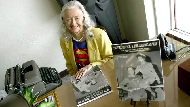 """In this June 13, 2003, file photo, Noel Niell poses for a photograph before a book signing of her book """"Truth, Justice, and the American Way, The Life and Times of Noel Neill The Original Lois Lane"""" during """"Lunch with Lois"""" at Farley's Cafeteria during the annual Superman Celebration, in Metropolis, Ill. The actress who was the first to play Superman's love interest, Lois Lane, on screen has died. Neill was 95."""