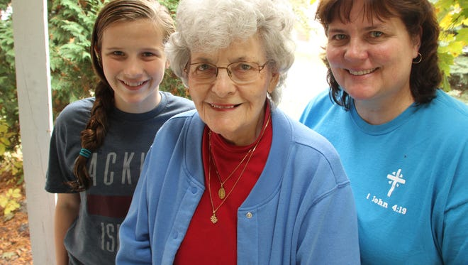 Three generations.  Theresa Rutkowski was a Rosie the Riveter during the war effort. At left is her grand daughter Truly Fehrle, age12. At right is daughter Donna Fehrle