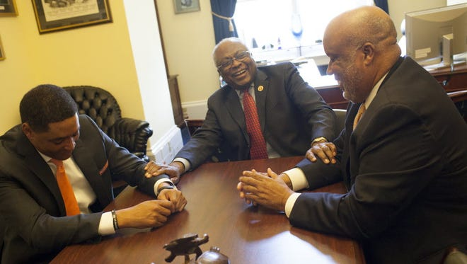 From left: Reps. Cedric Richmond, D-La., James Clyburn, D-S.C., and Bennie Thompson, D-Miss., right, are the only blacks and the only Democrats in their House delegations. The three have a long-standing tradition of getting together for dinner and talking about issues important to the South.