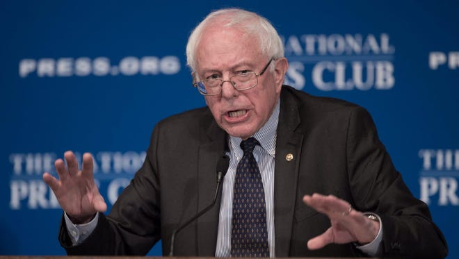 Independent Sen. Bernie Sanders of Vermont, a potential presidential candidate, speaks at the National Press Club in Washington on March 9, 2015.