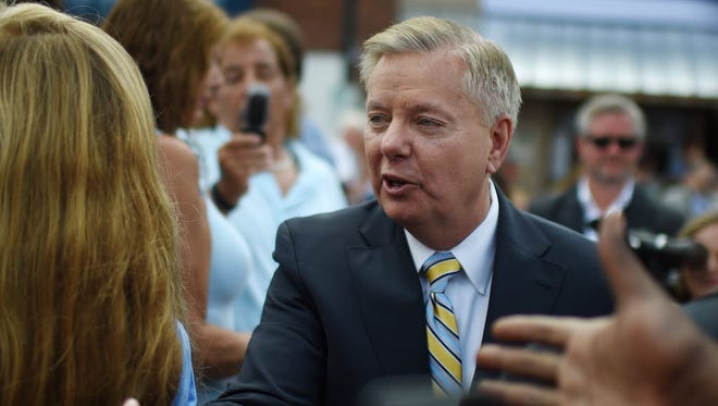 Sen. Lindsey Graham, R-S.C., greets supporters in Central, S.C., on June 1, 2015. Graham introduced a bill Thursday banning most late-term abortions and is predicting the Senate will vote on the highly polarizing issue this year.