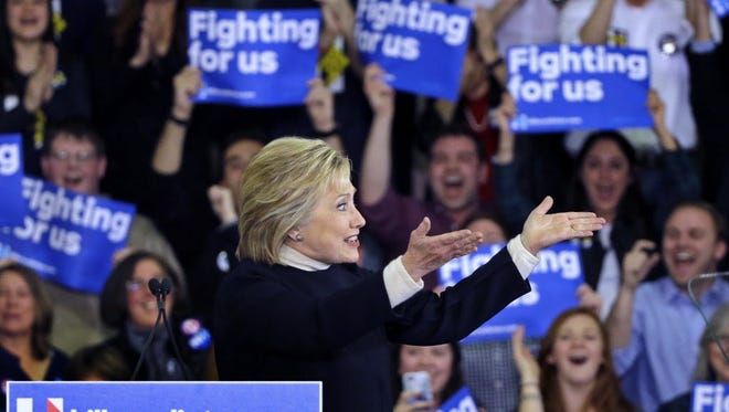 Hillary Clinton at her primary night rally in Hooksett, N.H., on Feb. 9, 2016.