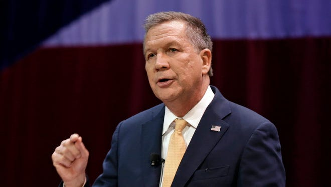 In this April 6, 2016, file photo, Ohio Gov. John Kasich delivers an annual State of the State address at the Peoples Bank Theatre in Marietta, Ohio.