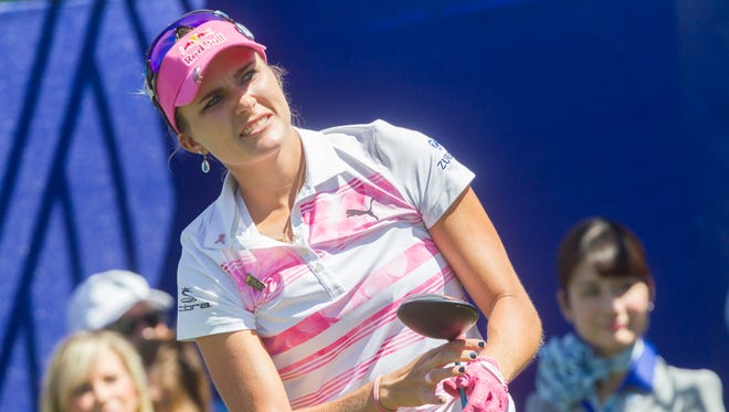 Lexi Thompson tees off on the 6th hole during the third round of the 2017 Ana Inspiration golf tournament at Mission Hills   in Rancho Mirage on April 1, 2017.