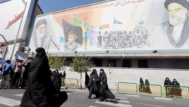 Iranian women leaving Friday prayer ceremony, Tehran, Oct. 13, 2017.