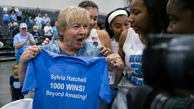 North Carolina Tar Heels head coach Sylvia Hatchell celebrates 1,000 wins after the game against the Grambling State Lady Tigers at Myrtle Beach Convention Center.