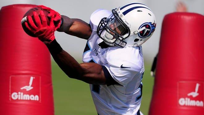 Titans wide receiver Michael Preston makes a catch during practice on Thursday at Saint Thomas Sports Park.