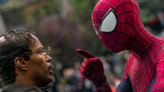 """Jamie Foxx, left, and Andrew Garfield as Spider-Man in """"The Amazing Spider-Man 2."""""""