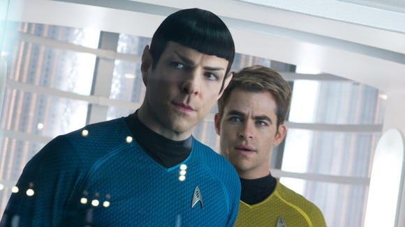 "Zachary Quinto as Spock and Chris Pine as Capt. Kirk in a scene from ""Star Trek Into Darkness."""