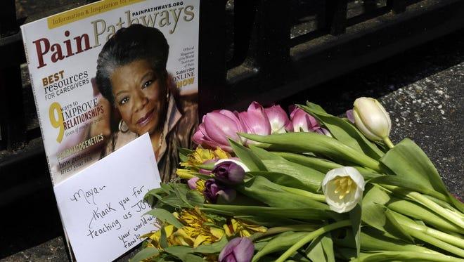 Outside Maya Angelou's home in Winston-Salem, N.C., on Wednesday.