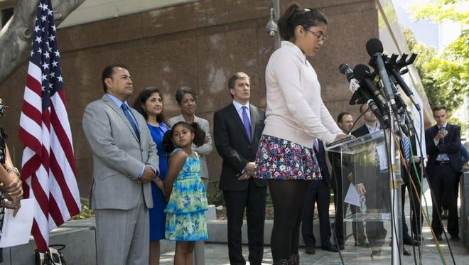 Plaintiff Julia Macias discusses the ruling in Los Angeles last week.