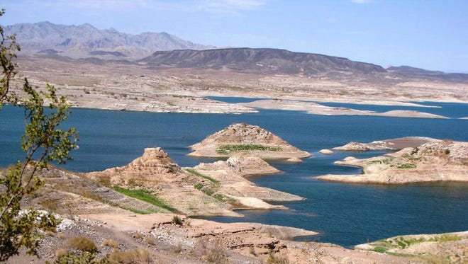 A view of Lake Mead's westernmost edge shows how receding waters have exposed islands and land.