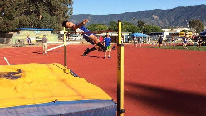 Nordhoff High freshman Koby Pfonner clears 5-6 in the high jump on his way to the Frontier League title on Thursday in Ojai.