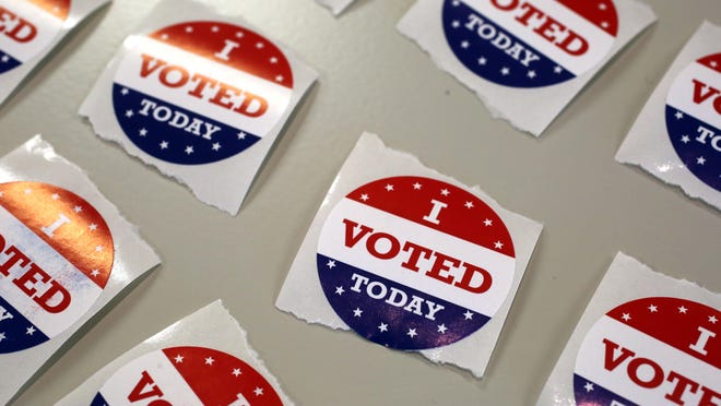 """""""I voted today"""" stickers were given to people during walk-in early voting. The election is on Tuesday, Aug. 4."""