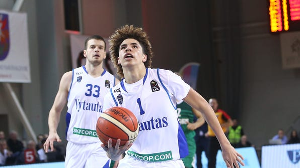 PRIENAI, LITHUANIA - JANUARY 09:  LaMelo Ball of Vytautas Prienai in action during the match between Vytautas Prienai and Zalgiris Kauno on January 9, 2018 in Prienai, Lithuania.  (Photo by Alius Koroliovas/Getty Images) ORG XMIT: 775101084 ORIG FILE ID: 903185442