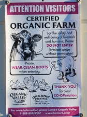 A sign alerts visitors that Kevin and Lynn Thull's farm is organic.