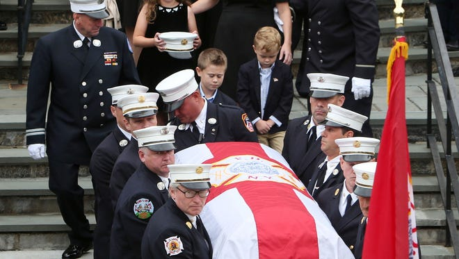 Funeral for FDNY Chief Michael Fahy at Annunciation Church in Yonkers Oct. 1, 2016. Fahey was killed in a gas explosion last week in the Bronx.