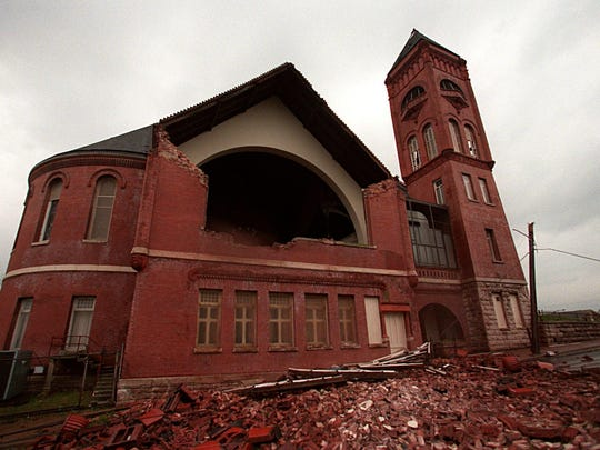 Tulip Street Methodist Church in historic Edgefield lost the main wall of its sanctuary when it was hit by a tornado in 1998.