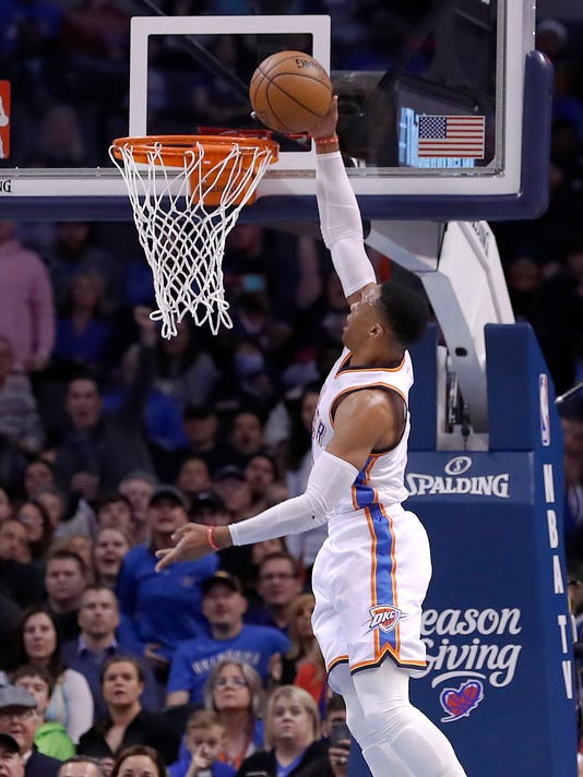 Oklahoma City Thunder guard Russell Westbrook (0) dunks against the Houston Rockets during the first half of an NBA basketball game in Oklahoma City, Friday, Dec. 9, 2016. (AP Photo/Alonzo Adams)