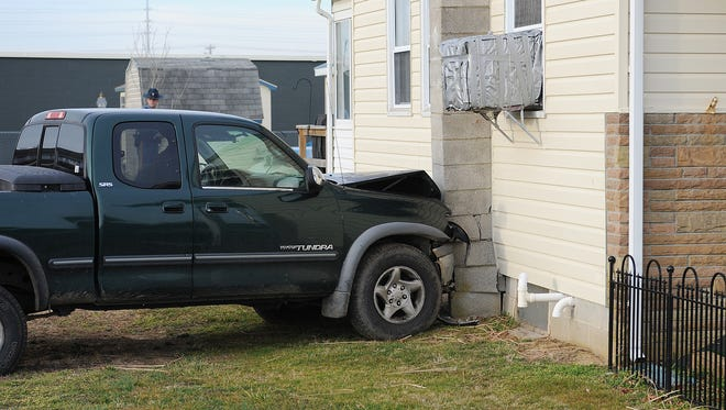 A pick-up truck hit a home on Burton Avenue in West Rehoboth Tuesday, Feb. 21. Delaware State Police are investigating the incident, which caused damage the house's foundation and chimney. Rehoboth Beach Vol. Fire Company responded to the call.
