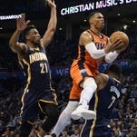 Pacers overcome Westbrook's triple-double, earn first road win