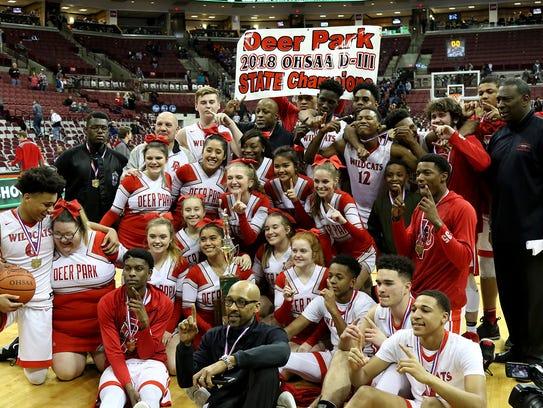The Deer Park High School basketball team, coaches