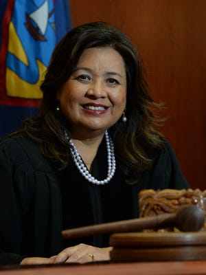 Chief Judge Frances Tydingco-Gatewood is shown in her courtroom at the District Court of Guam in Hagåtña.