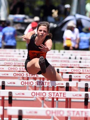 Ridgewood's Alexis Prater runs in the girls 100-meter hurdles Friday, June 2, 2017, at the state track and field championship at Jesse Owens Stadium in Columbus.