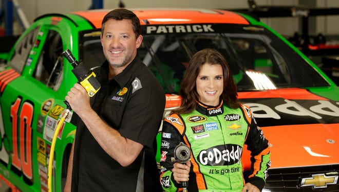 GoDaddy's latest television commercial, which airs Tuesday, features Nascar stars Danica Patrick and Tony Stewart trying to out-prank each other.