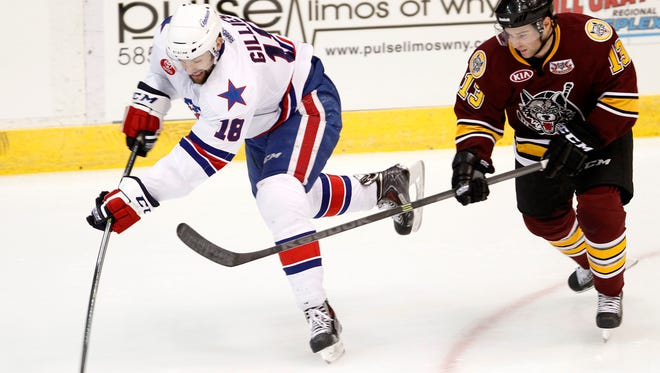Amerks winger Colton Gillies (shown here against the Chicago Wolves on Wednesday) scored his fifth goal in Friday's win over Rockford.