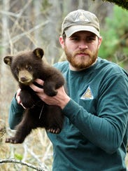 MDC wildlife assistant Brian Buescher holds a black