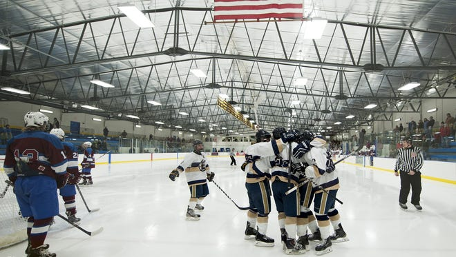 Essex celebrates a goal during the boys hockey game between the Spaulding Crimson Tide and the Essex Hornets at Essex on Wednesday night.
