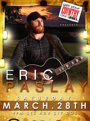Eric Paslay's Make Every Night a Friday Night 2015 tour will make a stop at Toby Keith's I Love This Bar & Grill on March 28.