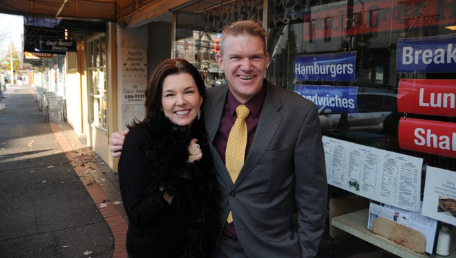 Adrienne Christian and Scott Mills at the Statesman Journal's Holding Court at the Court Street Dairy Lunch in downtown Salem on Monday, Nov. 20, 2017.