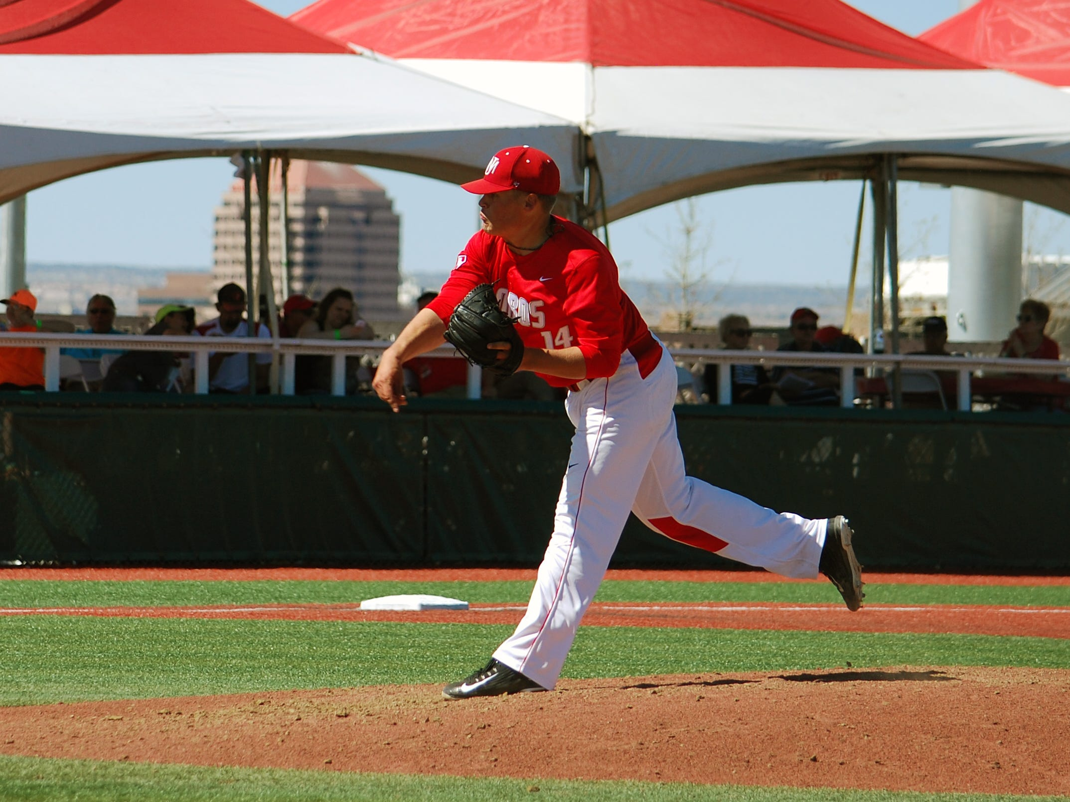 Rocky Mountain High School graduate Tyler Stevens, shown in a game earlier this season for New Mexico, threw a one-hitter for the Lobos on Sunday.