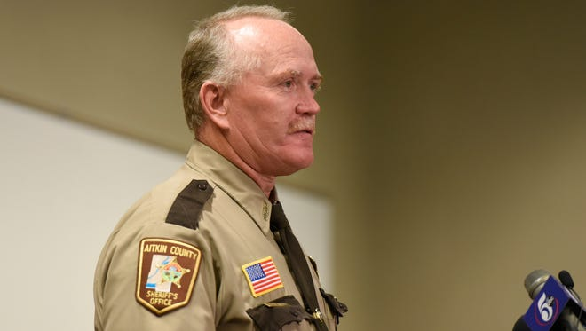 Aitkin County Sheriff Scott Turner spoke Sunday, Oct. 18, at a press conference about a shooting at St. Cloud Hospital that killed deputy Steven Martin Sandberg.