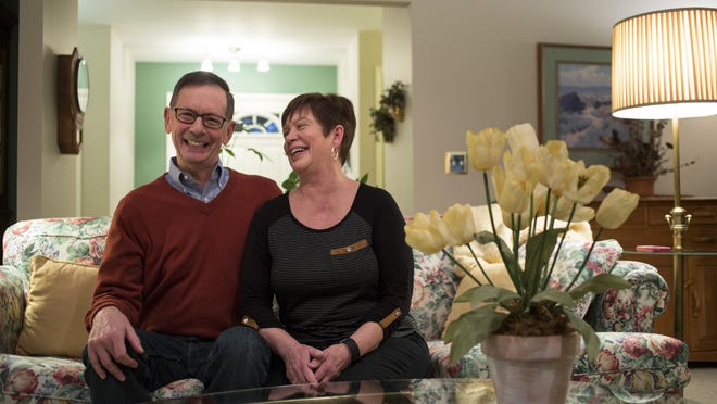 Karl and Denise Tomion at their Port Huron home. Karl is a former city manager of Port Huron and Midland, and currently serves as a county commissioner.