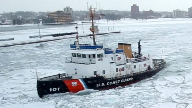 The US Coast Guard cutter Mackinaw the largest icebreaker on the Great Lakes.