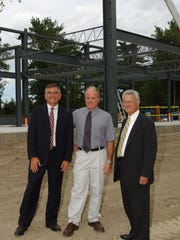 The groundbreaking ceremony for the Ferrisburgh Distribution Center at Dakin Farm in July of 2003. From left: Phil Daniels, president TD Bank Vermont; Sam Cutting IV, president of Dakin Farm and Fred Hackett, business adviser.