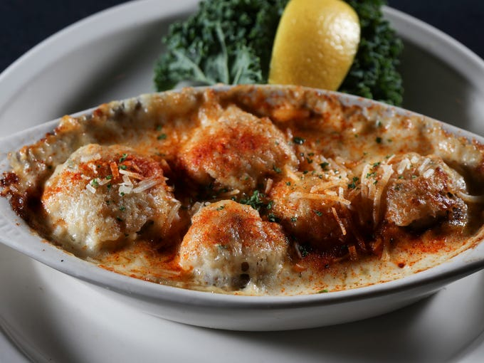 The Seafood Stuffed Mushrooms served at the Cast Iron