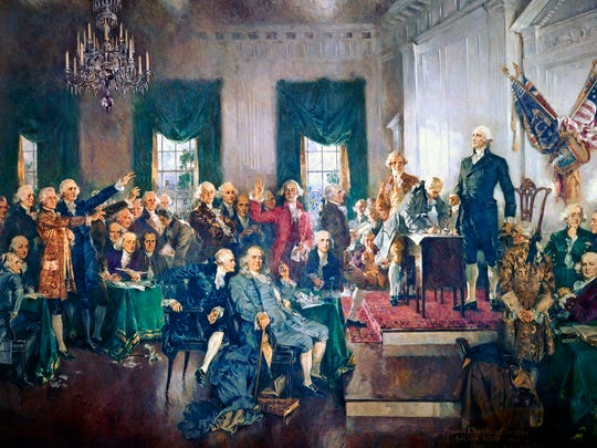 An oil-on-canvas painting by Howard Chandler Christy, depicting the Constitutional Convention signing the U.S. Constitution at Independence Hall in Philadelphia on September 17, 1787.