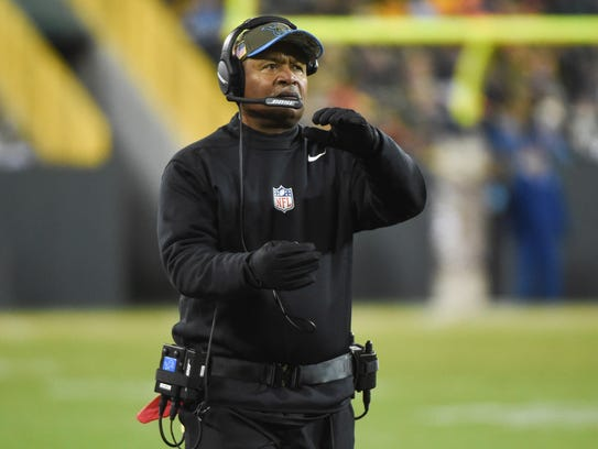 Lions coach Jim Caldwell on the sideline in the fourth